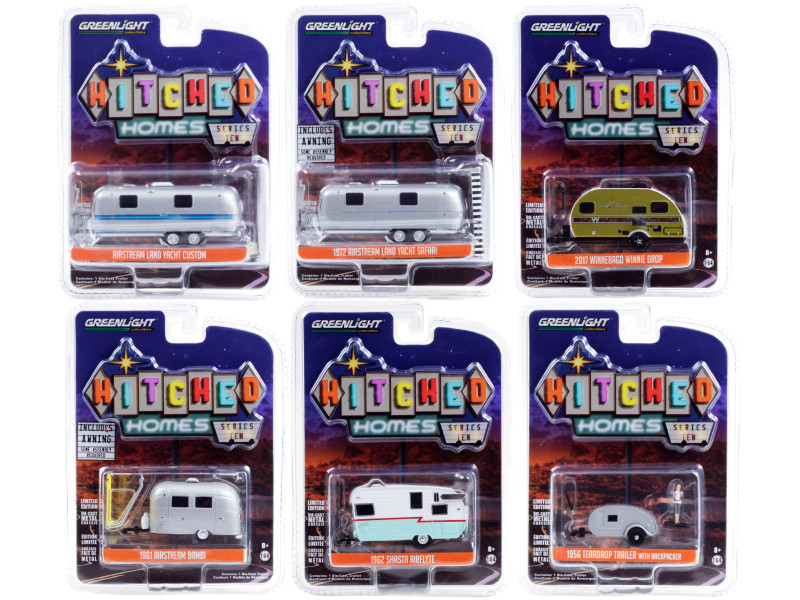 Hitched Homes 6 piece Travel Trailers Set Series 10 1/64 Diecast Models Greenlight 34100