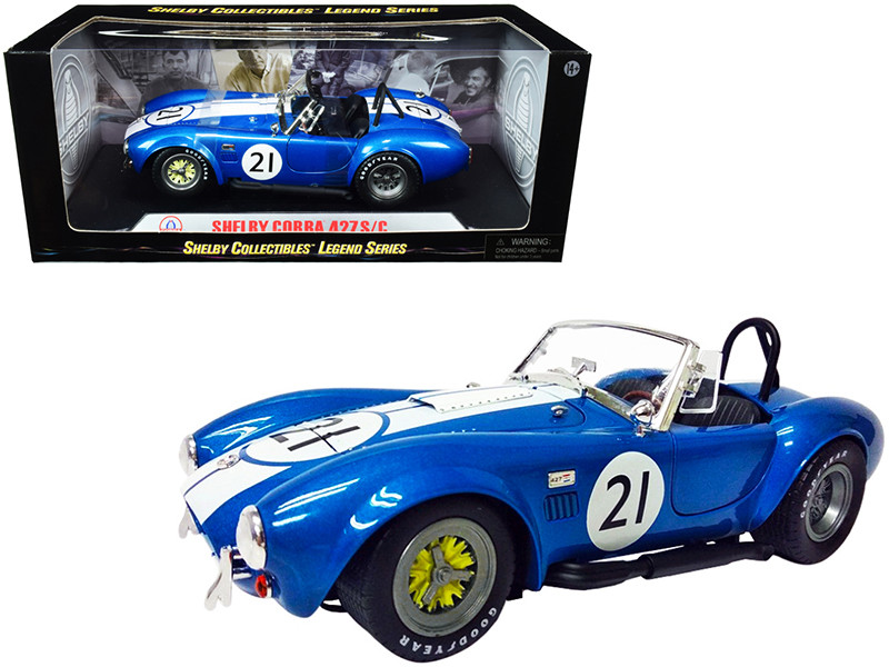 Shelby Cobra 427 S/C #21 Blue Metallic White Stripes 1/18 Diecast Model Car Shelby Collectibles SC112
