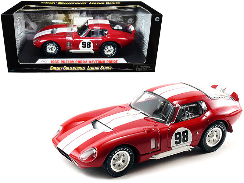 1965 Shelby Cobra Daytona Coupe #98 Red White Stripes 1/18 Diecast Model Car Shelby Collectibles SC131