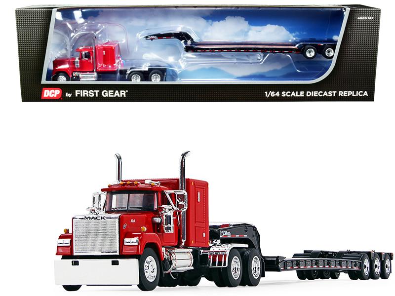 "Mack Super-Liner 60"" Sleeper Cab Talbert Tri-Axle Lowboy Trailer Mack Red Black 1/64 Diecast Model DCP First Gear 60-1045"
