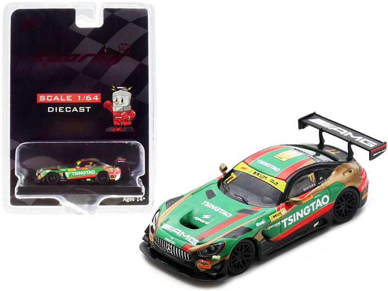 Mercedes-AMG GT3 #77 Edoardo Mortara Mercedes-AMG Team Craft-Bamboo Racing FIA GT World Cup Macau 2019 1/64 Diecast Model Car Sparky Y168B