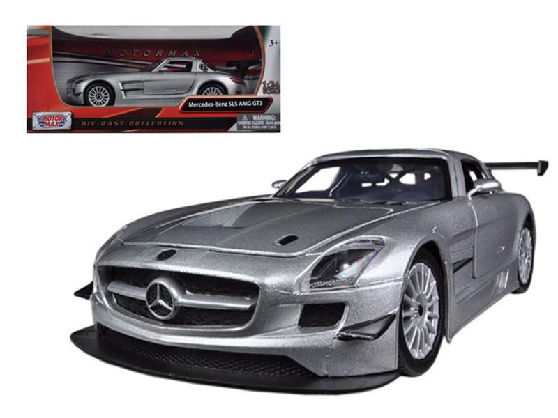 Mercedes SLS AMG GT3 Silver 1/24 Diecast Car Model Motormax 73356