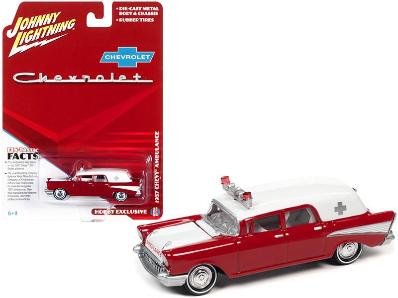 1957 Chevrolet Ambulance Kosmos Red White White Interior 1/64 Diecast Model Car Johnny Lightning JLSP130