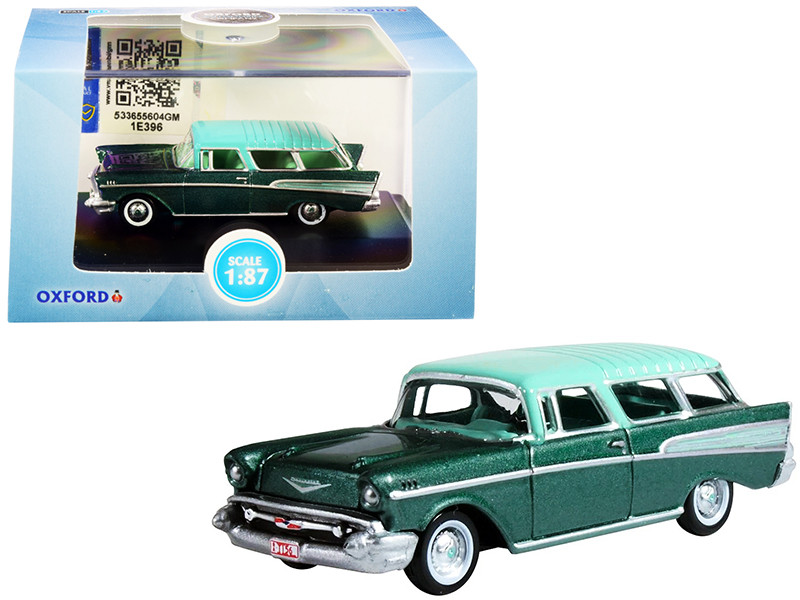 1957 Chevrolet Nomad Highland Green Metallic Surf Green Top 1/87 HO Scale Diecast Model Car Oxford Diecast 87CN57006