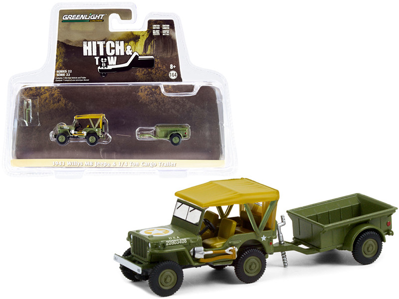 1943 Willys MB Jeep Army Green Brown Top 1/4 Ton Cargo Trailer Army Green Hitch & Tow Series 22 1/64 Diecast Model Car Greenlight 32220 A