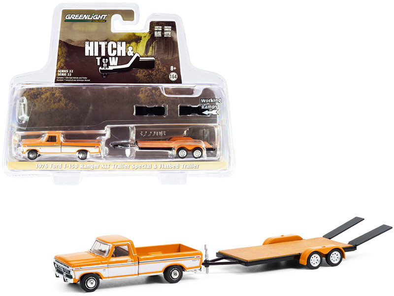 1976 Ford F-150 Ranger XLT Trailer Special Pickup Truck Orange White Flatbed Trailer Hitch & Tow Series 22 1/64 Diecast Model Car Greenlight 32220 B