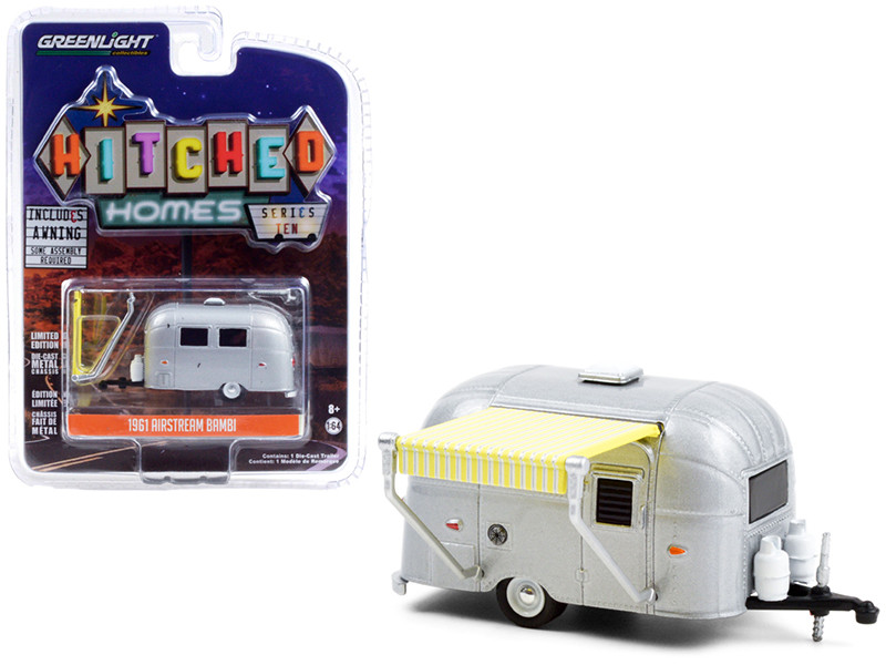 1961 Airstream Bambi Silver Yellow White Awning Hitched Homes Series 10 1/64 Diecast Model Car Greenlight 34100 D