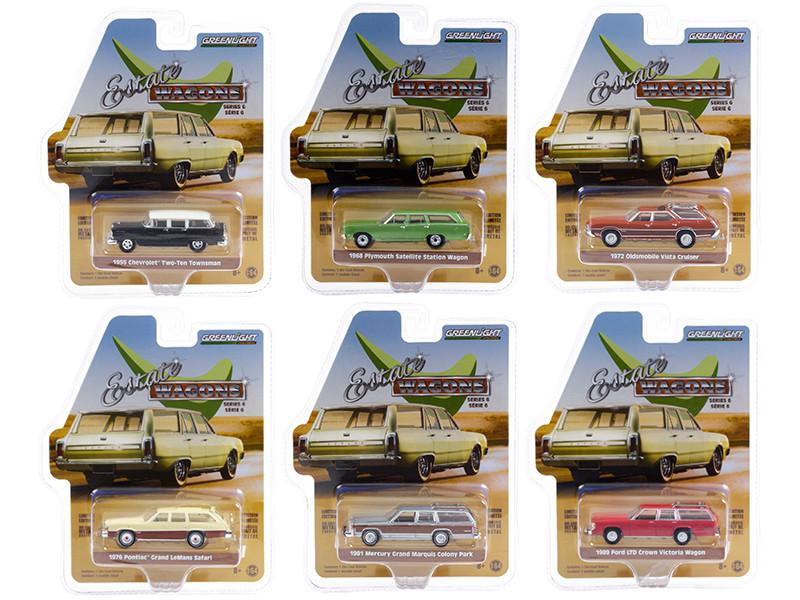 Estate Wagons 6 piece Set Series 6 1/64 Diecast Model Cars Greenlight 36010