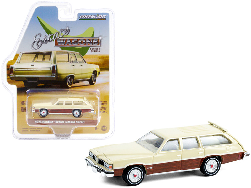 1976 Pontiac Grand LeMans Safari Bavarian Cream Woodgrain Sides Estate Wagons Series 6 1/64 Diecast Model Car Greenlight 36010 D