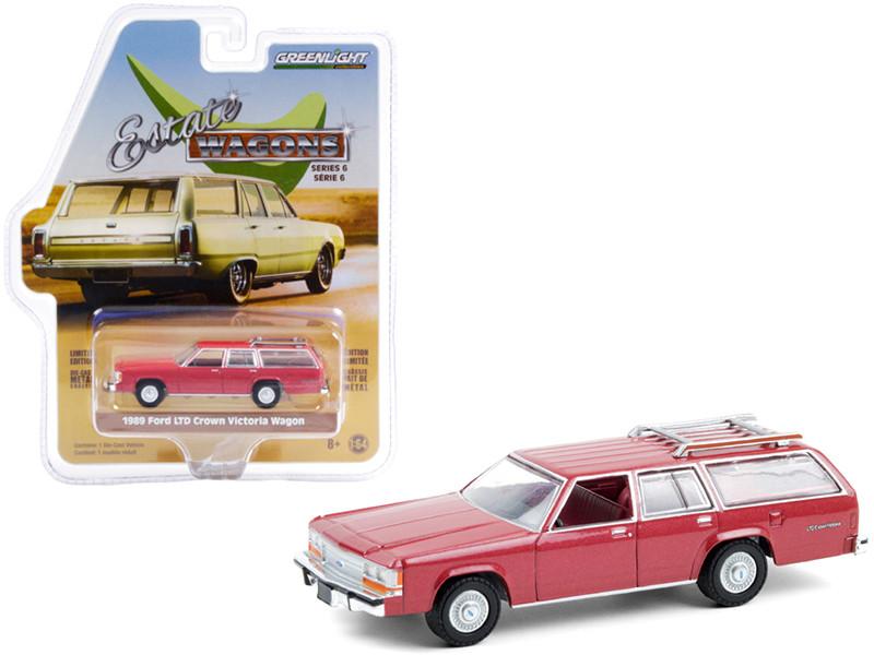 1989 Ford LTD Crown Victoria Wagon Roof Rack Currant Red Metallic Estate Wagons Series 6 1/64 Diecast Model Car Greenlight 36010 F