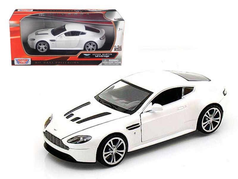 Aston Martin V12 Vantage Pearl White 1/24 Diecast Car Model Motormax 73357