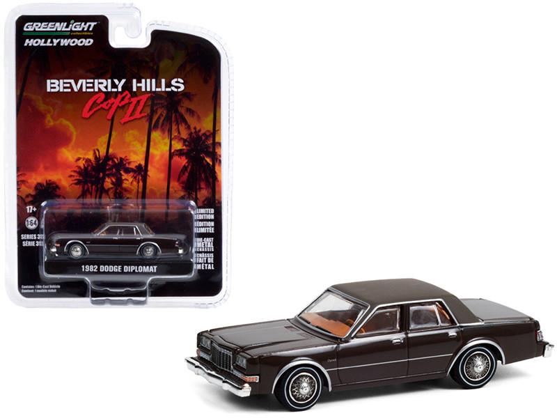 1982 Dodge Diplomat Brown Vinyl Brown Top Beverly Hills Cop II 1987 Movie Hollywood Series Release 31 1/64 Diecast Model Car Greenlight 44910 B