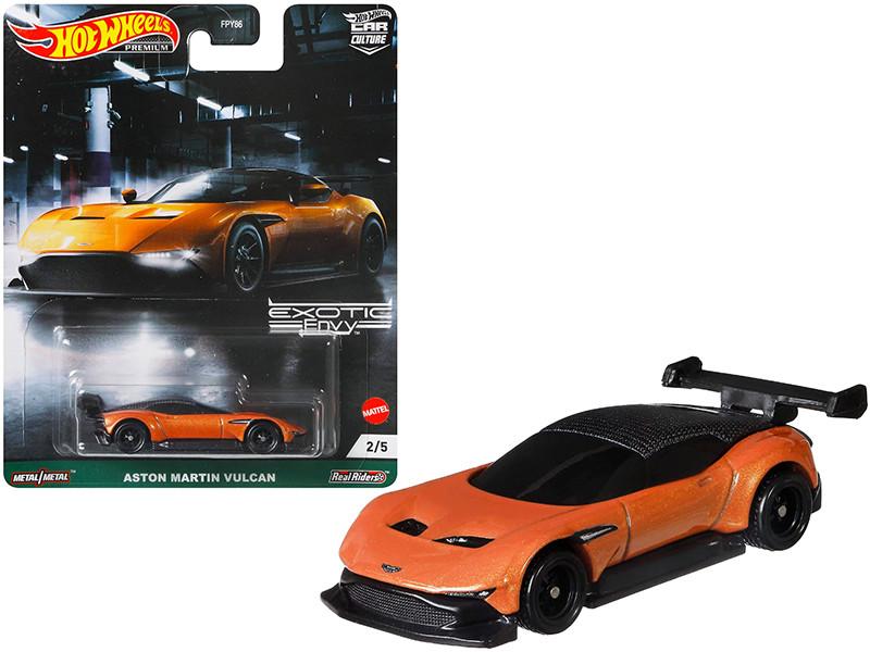 Aston Martin Vulcan Orange Metallic Exotic Envy Series Diecast Model Car Hot Wheels GRJ77