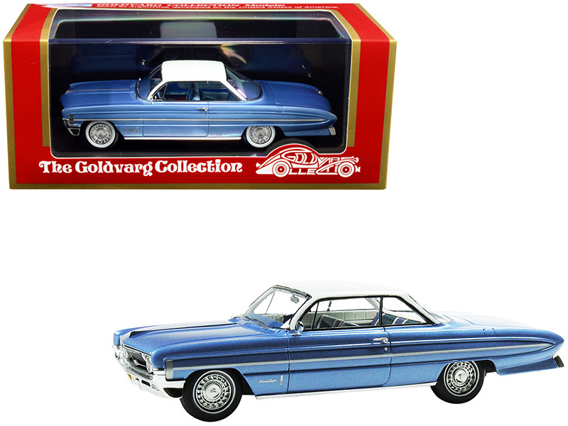 1961 Oldsmobile Bubble Top Light Blue Metallic White Top Limited Edition 235 pieces Worldwide 1/43 Model Car Goldvarg Collection GC-020 B