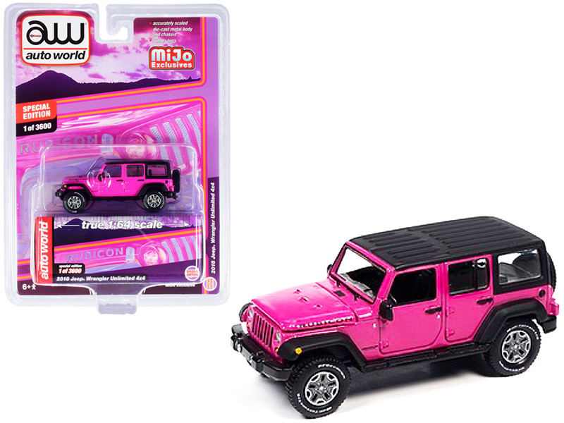 2018 Jeep Wrangler Rubicon Unlimited 4x4 Pink Black Top Limited Edition 3600 pieces Worldwide 1/64 Diecast Model Car Autoworld CP7753
