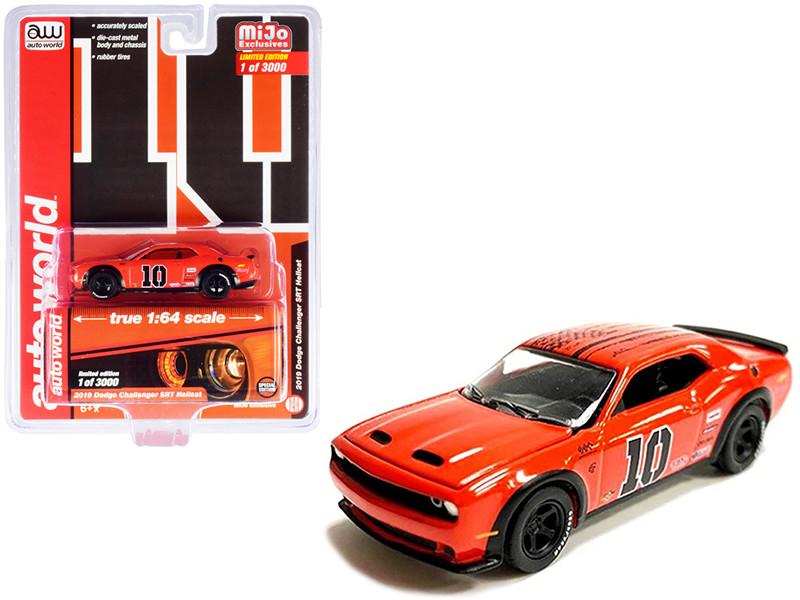 2019 Dodge Challenger SRT Hellcat #10 Orange Limited Edition 3000 pieces Worldwide 1/64 Diecast Model Car Autoworld CP7754