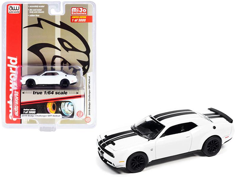 2019 Dodge Challenger SRT Hellcat White Black Stripes Limited Edition 3000 pieces Worldwide 1/64 Diecast Model Car Autoworld CP7755
