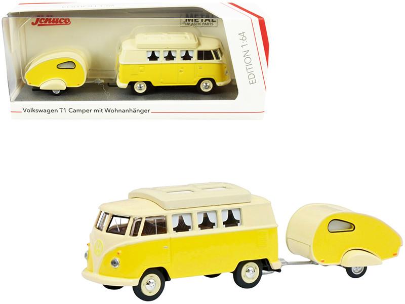 Volkswagen T1 Camper Bus Travel Trailer Yellow Cream 1/64 Diecast Models Schuco 452026700