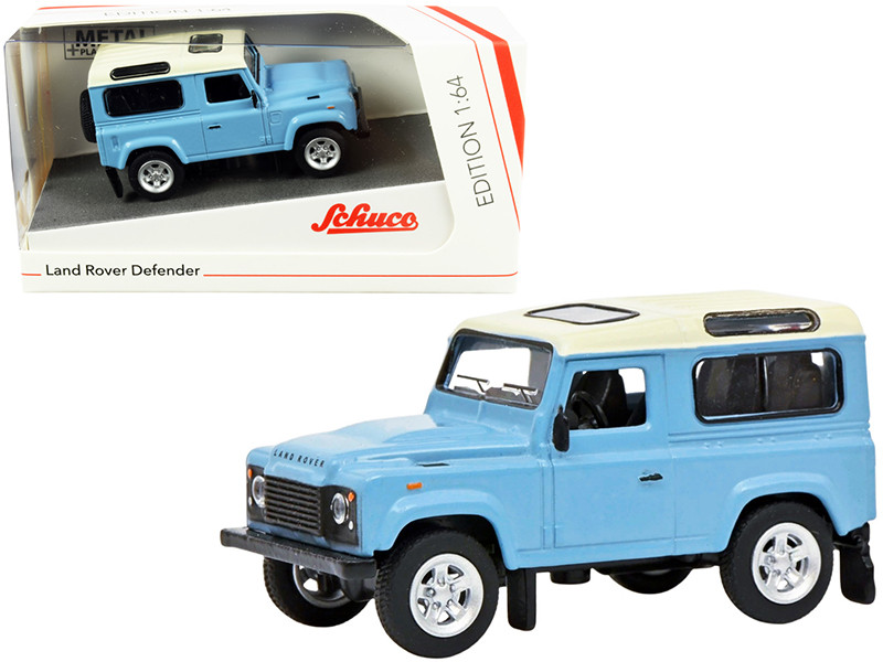 Land Rover Defender Light Blue Cream Top 1/64 Diecast Model Car Schuco 452027500