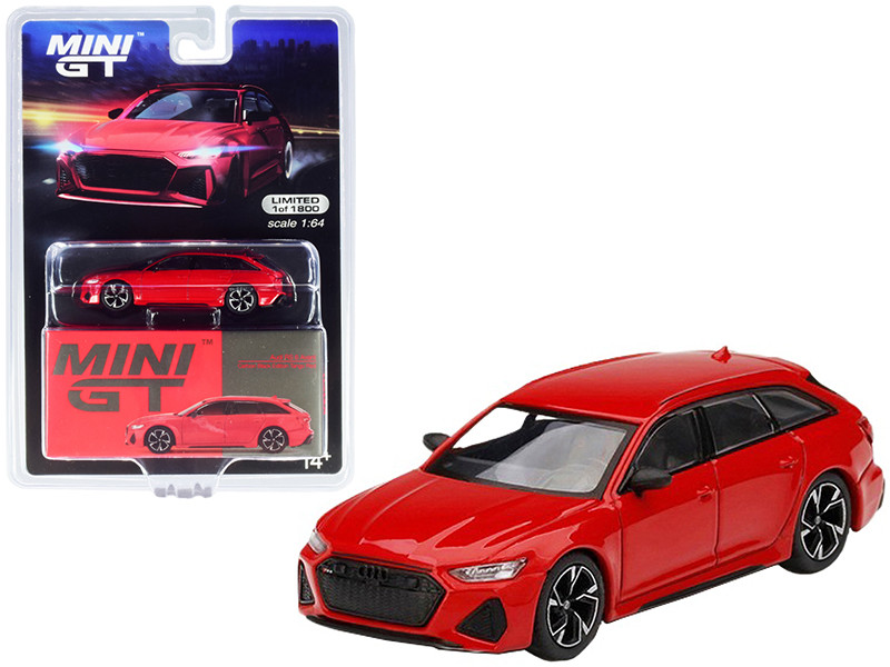 Audi RS 6 Avant Carbon Black Edition Tango Red Limited Edition 1800 pieces Worldwide 1/64 Diecast Model Car True Scale Miniatures MGT00194