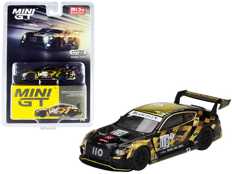 Bentley Continental GT3 RHD Right Hand Drive #110 M-Sport Team Bentley Total 24 Hours Spa 2019 Limited Edition 1200 pieces Worldwide 1/64 Diecast Model Car True Scale Miniatures MGT00199