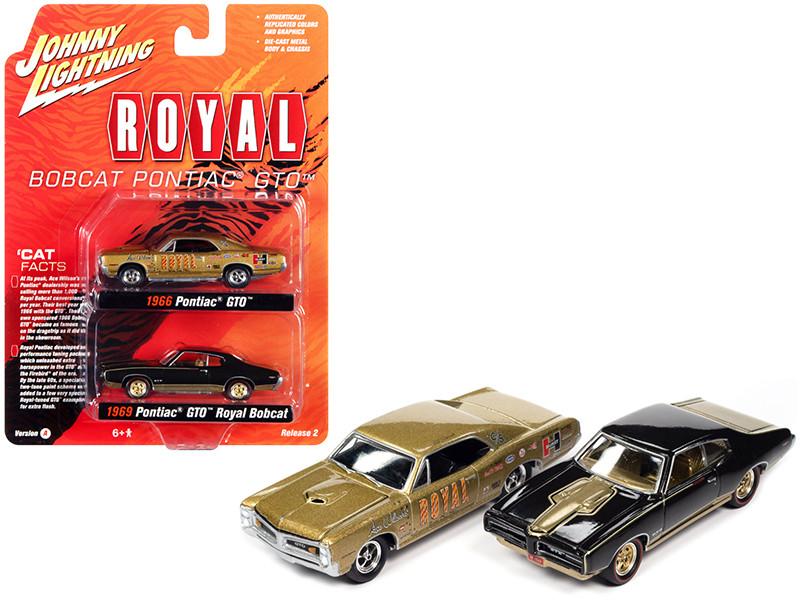 1966 Pontiac GTO Royal Gold 1969 Pontiac GTO Royal Bobcat Espresso Brown Pontiac Royal Set of 2 pieces 1/64 Diecast Model Cars Johnny Lightning JLPK013 JLSP161 A