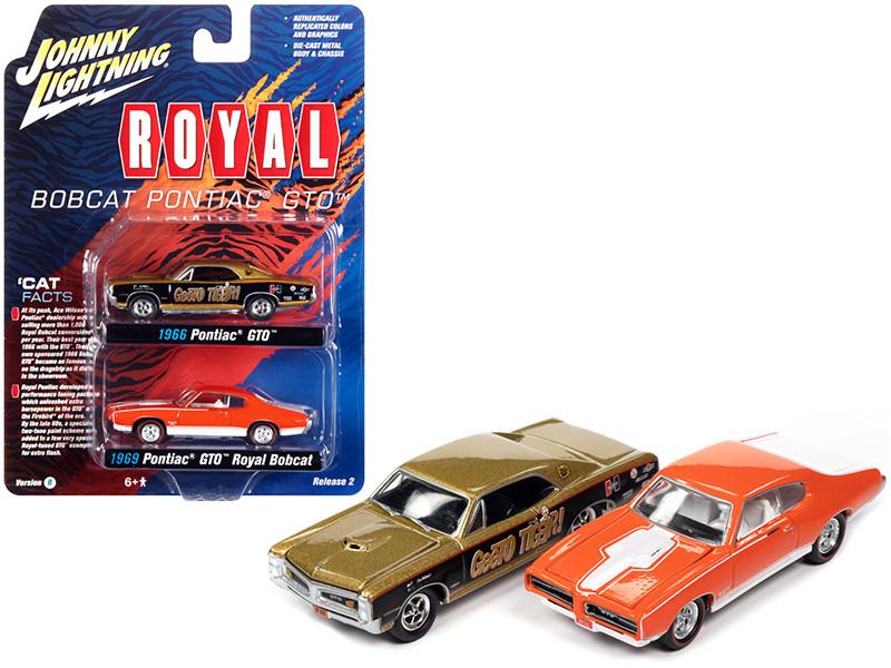 1966 Pontiac GTO GeeTO Tiger Gold 1969 Pontiac GTO Royal Bobcat Orange Pontiac Royal Set of 2 pieces 1/64 Diecast Model Cars Johnny Lightning JLPK013 JLSP161 B