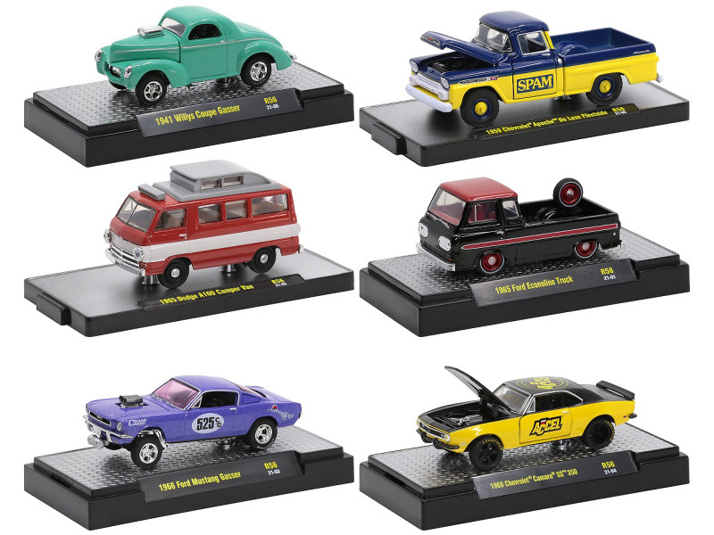 Auto Meets Set of 6 Cars IN DISPLAY CASES Release 56 Limited Edition 7250 pieces Worldwide 1/64 Diecast Model Cars M2 Machines 32600-56