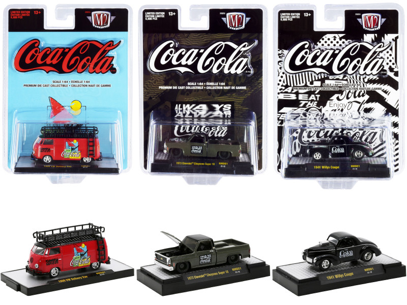 Nomad Coca-Cola Set of 3 pieces Release 1 Limited Edition 9600 pieces Worldwide 1/64 Diecast Model Cars M2 Machines 52500-NMD01