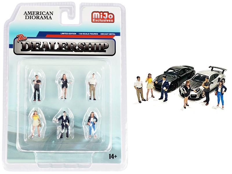 The Dealership 6 piece Diecast Figurine Set 1/64 Scale Models American Diorama 76476