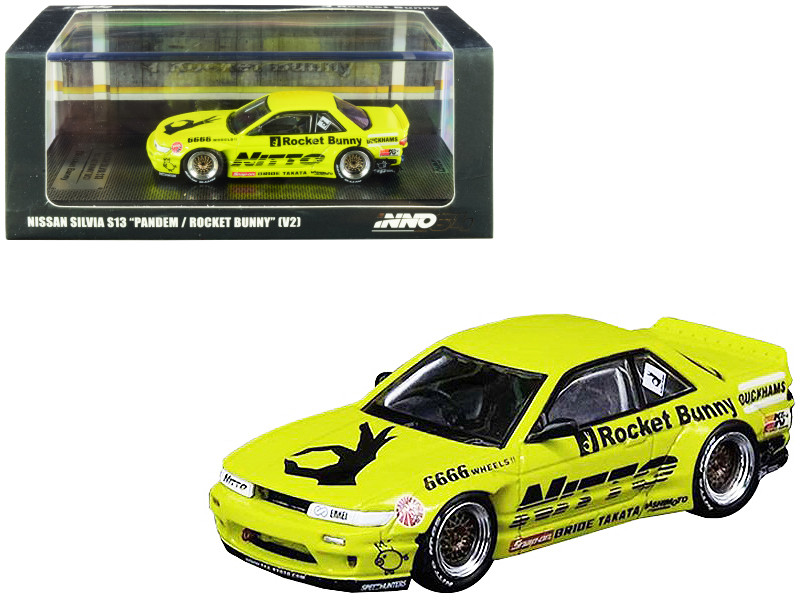 Nissan Silvia S13 V2 RHD Right Hand Drive Pandem Rocket Bunny Bright Yellow Graphics 1/64 Diecast Model Car Inno Models IN64-S13V2-LIY