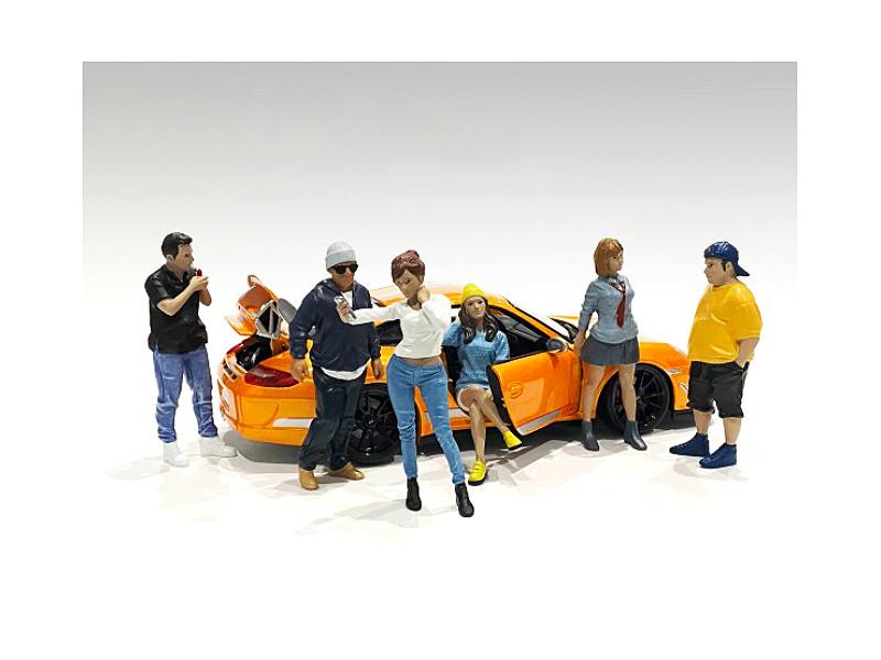 Car Meet 1 6 piece Figurine Set 1/24 Scale Models American Diorama 76377 76378 76379 76380 76381 76382