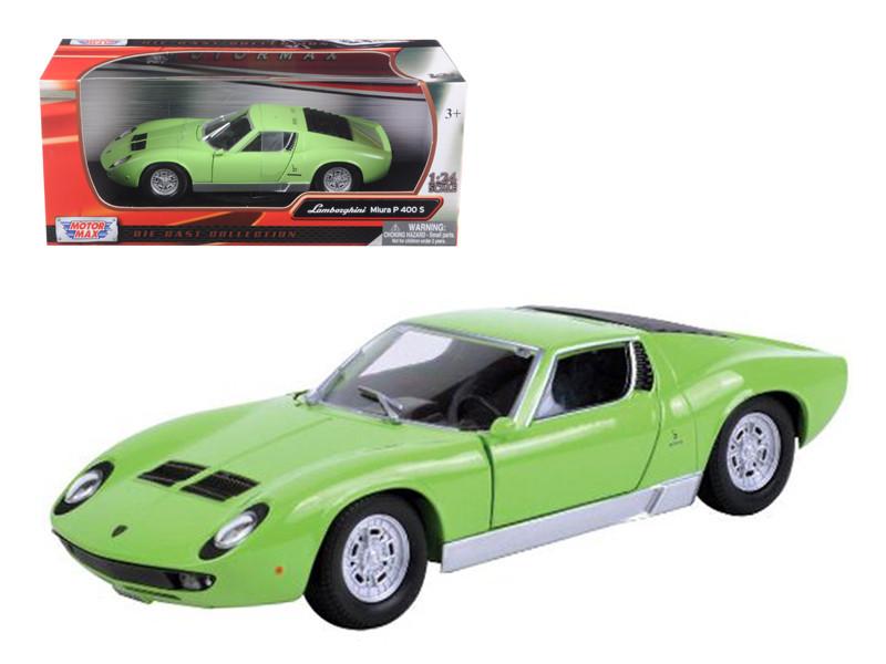 Lamborghini Miura P 400 S Green 1/24 Diecast Car Model Motormax 73368