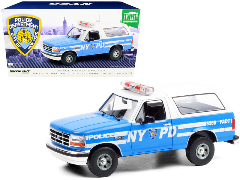 1992 Ford Bronco Police Car Light Blue White New York City Police Department NYPD 1/18 Diecast Model Car Greenlight 19087