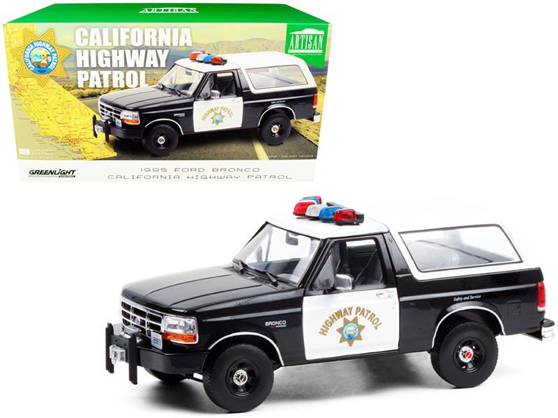 1995 Ford Bronco Police Car Black White California Highway Patrol CHP 1/18 Diecast Model Car Greenlight 19089