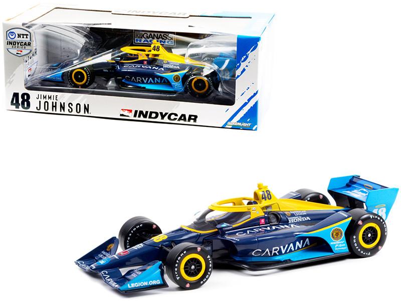 Dallara IndyCar Road Course Configuration #48 Jimmie Johnson Carvana Chip Ganassi Racing NTT IndyCar Series 2021 1/18 Diecast Model Car Greenlight 11105