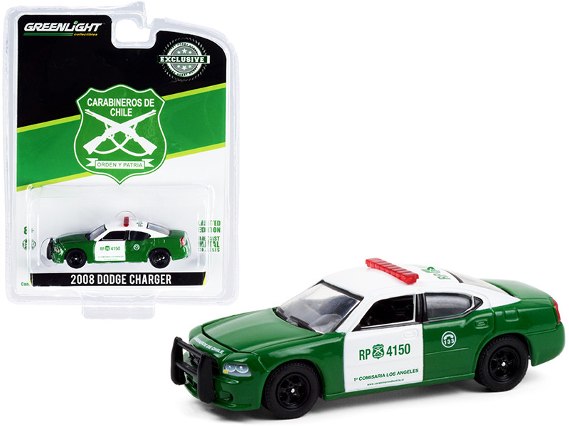 2008 Dodge Charger Police Car Green White Carabineros de Chile Hobby Exclusive 1/64 Diecast Model Car Greenlight 30237