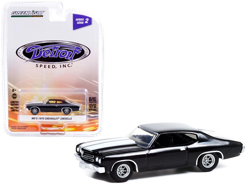 1970 Chevrolet Chevelle Mo's Black White Stripes Detroit Speed Inc Series 2 1/64 Diecast Model Car Greenlight 39070 D