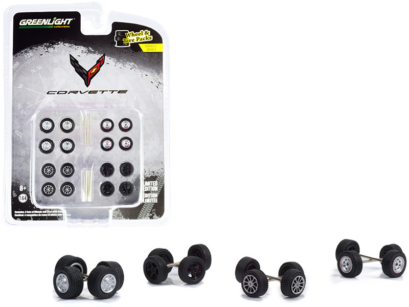 Chevrolet Corvette Wheels Tires Multipack Set of 24 pieces Wheel & Tire Packs Series 5 for 1/64 Scale Models Greenlight 16090 A