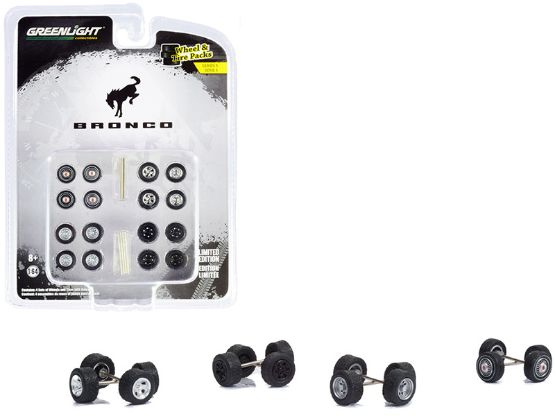 Ford Bronco Wheels Tires Multipack Set of 24 pieces Wheel & Tire Packs Series 5 for 1/64 Scale Models Greenlight 16090 B