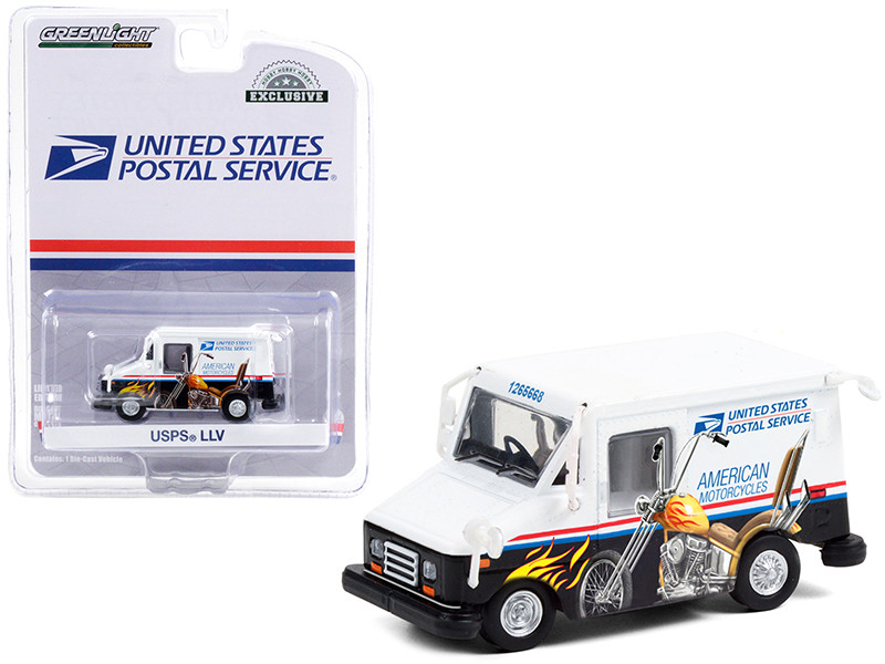 LLV Long Life Postal Delivery Vehicle White Graphics United States Postal Service USPS American Motorcycles Collectible Stamps Hobby Exclusive 1/64 Diecast Model Car Greenlight 30249