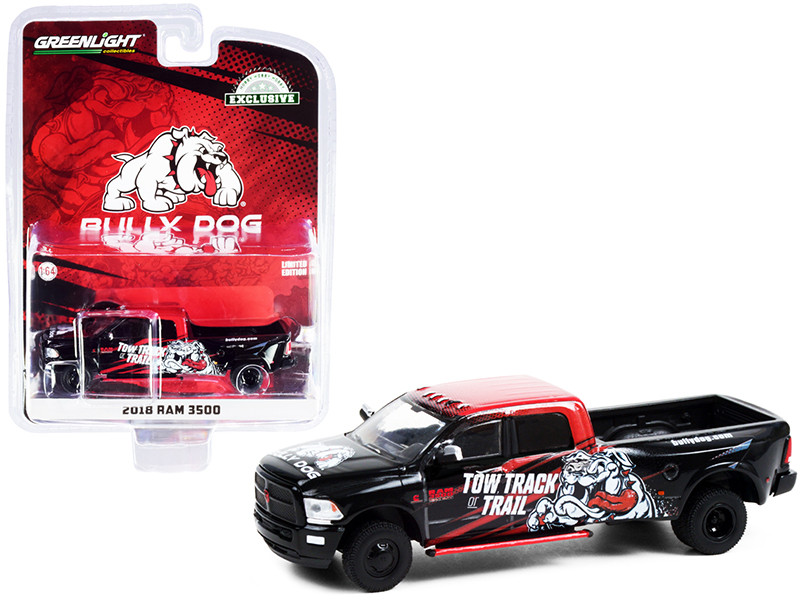 2018 RAM 3500 Dually Bully Dog Pickup Truck Black Red Graphics Tow Track or Trail Hobby Exclusive 1/64 Diecast Model Car Greenlight 30258