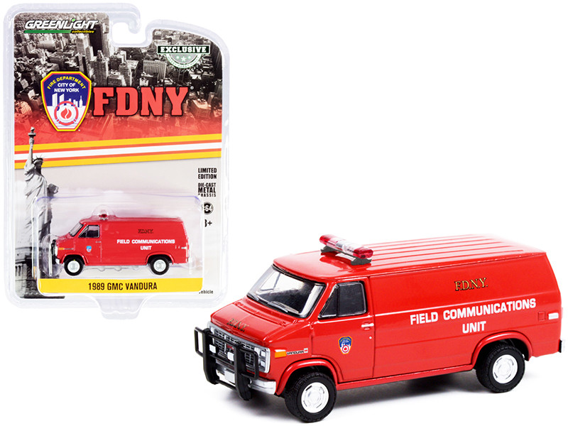 1989 GMC Vandura Van Red Fire Department City of New York FDNY Field Communications Unit Hobby Exclusive 1/64 Diecast Model Car Greenlight 30277