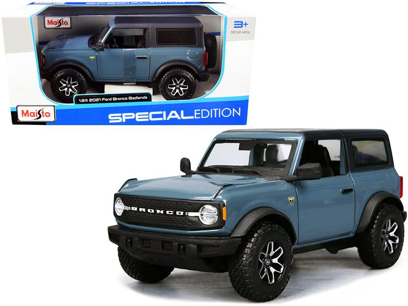 2021 Ford Bronco Badlands Blue Black Top Special Edition 1/24 Diecast Model Car Maisto 31530