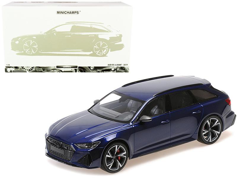 2019 Audi RS 6 Avant Blue Metallic Limited Edition 402 pieces Worldwide 1/18 Diecast Model Car Minichamps 155018011