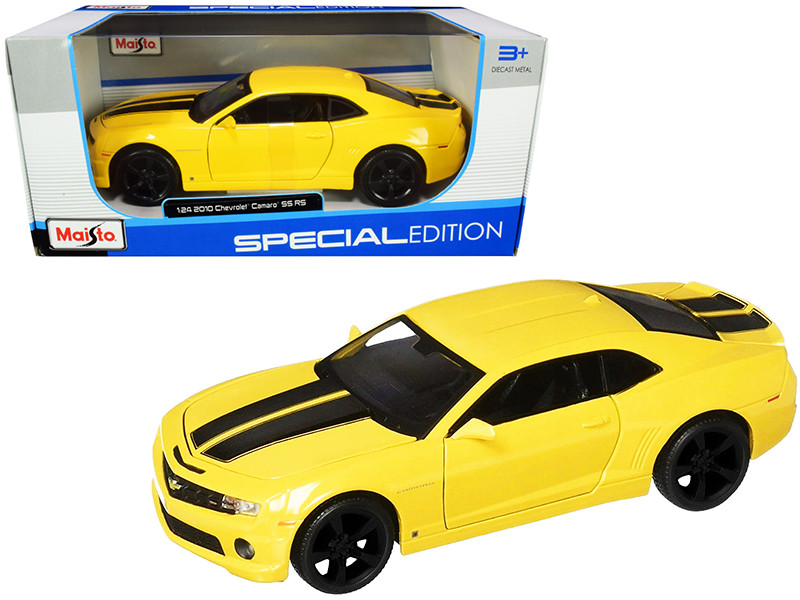 2010 Chevrolet Camaro RS SS Yellow Black Wheels 1/24 Diecast Model Car Maisto 31207