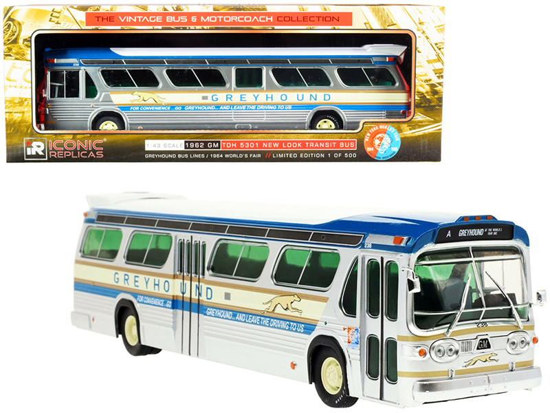 1962 GM TDH 5301 New Look Transit Bus Greyhound Bus Lines 1964 World's Fair The Vintage Bus & Motorcoach Collection Limited Edition 500 pieces Worldwide 1/43 Diecast Model Iconic Replicas 43-0260