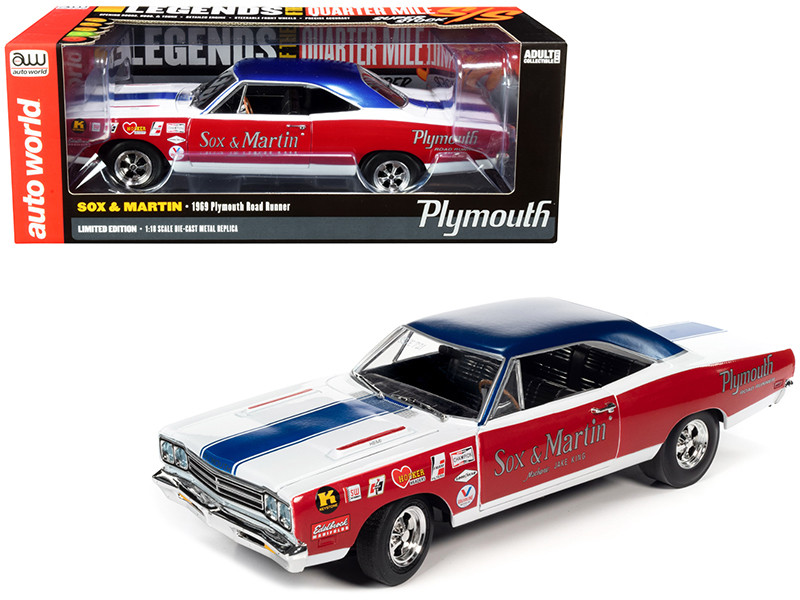 1969 Plymouth Road Runner Sox & Martin LOTQM Legends of the Quarter Mile 1/18 Diecast Model Car Autoworld AW276
