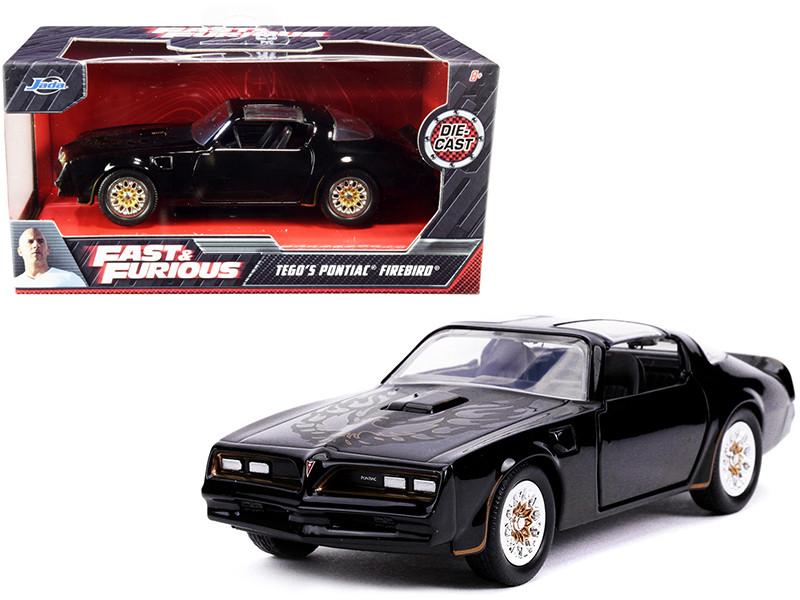Tego's Pontiac Firebird Black Gold Stripes Hood Bird Fast & Furious Series 1/32 Diecast Model Car Jada 30763