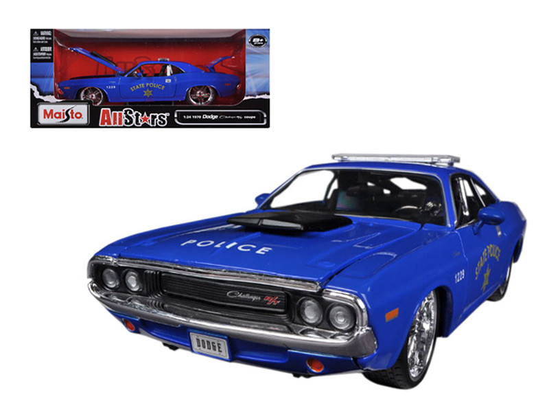 "1970 Dodge Challenger R/T Coupe Police Blue ""All Stars"" 1/24 Diecast Model Car Maisto 31129"